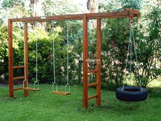 24 Ideas Backyard Swing Set Ideas Projects For 2019 Backyard Swing Sets, Backyard Playset, Diy Swing, Backyard For Kids, Backyard Projects, Backyard Patio, Backyard Landscaping, Diy Playground, Outdoor Play Areas