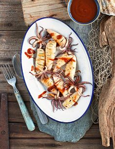 Spicy squid with Japanese BBQ sauce  This recipe for spicy squid with Japanese BBQ sauce is a great new way to use squid and makes a great quick and easy starter for 2