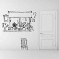 I want this as badly as noah wanted allie: Coffee Window Wall Sticker, now featured on Fab. Mural Art, Wall Murals, Wall Art, Style Deco, Wall Drawing, Landscape Walls, Office Walls, Solid Wood Furniture, Shop Interior Design