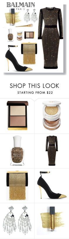 """""""Balmain black and gold"""" by emmyt94 ❤ liked on Polyvore featuring Tom Ford, Deborah Lippmann, Balmain and Bite"""