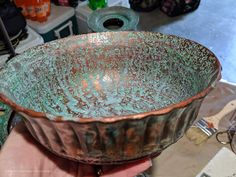 How To Get A Patina On Metal Finish Using Dixie Belle Patina Paint. Patina Paint, Patina Metal, Patina Finish, Paint Companies, Dixie Belle Paint, Metal Finishes, Wrought Iron, Serving Bowls, Tableware