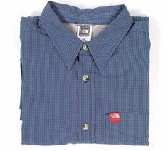 The North Face Rayon Seersucker Blue L/S Button-Down Shirt Vented Men's SZ Large #TheNorthFace #ButtonFront