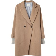 Boy by Band of Outsiders Two Button Coat featuring polyvore, fashion, clothing, outerwear, coats, jackets, coats & jackets, beige coat, double breasted long coat, band of outsiders coat, double breasted camel coat and long beige coat