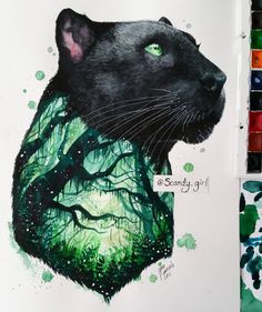 black panther Art Print by Jonna Lamminaho Animal Drawings, Cool Drawings, Animal Tattoos, Cat Art, Art Sketches, Amazing Art, Awesome, Watercolor Art, Watercolour Drawings