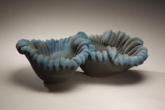 Katsumata Chieko (b. 1950)  Biomorphic sculpture in the form of a double-sided coral in matte turquoise, black glazes, 2008  Stoneware with matte glazes  7 x 12 5/8 x 19 1/4 inches