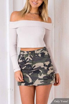 This skirt is in fashion style. It is featured with mini length and camouflage pattern. Just pair it with t-shirt and high heels will be perfect.