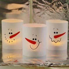Paper Snowman Luminaries.