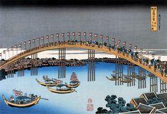 "Japanese Ukiyo-e Woodblock print, Hokusai, ""The Tenman Bridge in Settsu Province"" Art Occidental, Visual Hierarchy, Great Wave Off Kanagawa, Katsushika Hokusai, Japanese Painting, The Province, Japanese Artists, Buy Prints, Woodblock Print"