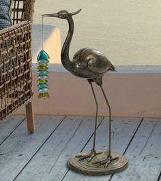 Details About Heron Crane Statue Decorative Sculpture Coastal Decor In/Outdoor  Garden Patio