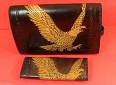 Eagle Shoulder Bag & Wallet Set Handcrafted Leather $99.00