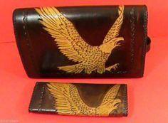 Eagle Shoulder Bag & Wallet Set Handcrafted Leather $99.00
