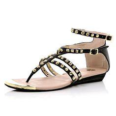 Black studded spike strap sandals