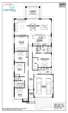 jpg put the kitchen where the lounge is, laundry behind and garage at rear. Maybe delete the middle bedroom or make an activity? Master gets front windows and a wide verandah. Family House Plans, New House Plans, Narrow House Designs, Porch Bed, Recessed Ceiling, Front Windows, Natural Building, Garden Living, House Inside
