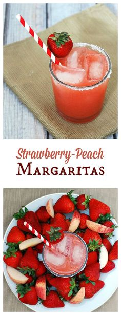 Set aside some fresh seasonal fruit for these strawberry-peach margaritas. They are light and refreshing, perfect for sipping on a warm summer night!