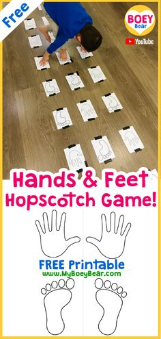 Hands and Feet Hopscotch Game Free Printable - Hands and feet game free printable! Just like hopscotch but you have to match your left and right h - Motor Skills Activities, Movement Activities, Preschool Learning Activities, Gross Motor Skills, Sensory Activities, Infant Activities, Toddler Gross Motor Activities, Sensory Tubs, Sensory Rooms