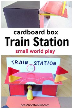 This train station craft is a great activity to promote fine motor, language, and creative skills. All aboard for some awesome pretend play with a train station kids can make with a cardboard box. Cardboard Box Crafts, Small World Play, Boxing Training, Creative Skills, Imaginative Play, Pretend Play, Train Station, Shoe Box, Fine Motor