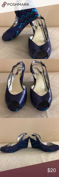 Gianni Bini chevron metallic wedges Purple chevron metallic wedges Gianni Bini Shoes Wedges