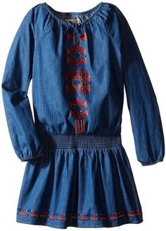 Lucky Brand Kids Chambray Peasant Dress with Embro… 2a4465a4b