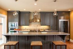 Fair Light Gray Cabinets Image Decor in Kitchen Traditional design ideas with Fair Craftsman grey cabinets kitchen island oven hood pendant light Shaker kitchen stainless
