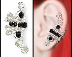 Black EAR CUFF with czech glass crystals, perfect for gift, silver wire original handmade