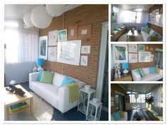 Sunroom -hang artwork framed in white on brick wall w/ Small Couch/Bench below