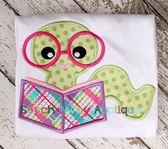 Bookworm Applique - 4 Sizes! | What's New | Machine Embroidery Designs | SWAKembroidery.com Stitch Away Applique