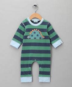 Green Stripe Dino Fred Playsuit - Infant | Daily deals for moms, babies and kids