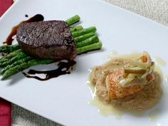 Pan Roasted Filet Mignon with Asparagus Sea Bass with Roasted Cauliflower Puree Recipe : Brian Boitano : Food Network Cauliflower Puree, Roasted Cauliflower, Cauliflower Recipes, Dinner Dishes, Main Dishes, Food Network Recipes, Food Processor Recipes, Seafood Recipes, Dinner Recipes