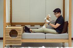 Pet-Friendly Indoor/Outdoor Daybed from Deesawat - Dog Milk Sofa Design, Cat Design, Design Ideas, Interior Design, Dog Milk, Dog Cafe, Outdoor Daybed, Dog Furniture, Furniture Design