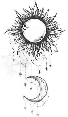 simple sun and moon drawing Moon Sun Tattoo, Sun Tattoos, Back Tattoos, Trendy Tattoos, Future Tattoos, Flower Tattoos, Body Art Tattoos, Sun Moon, Tatoos