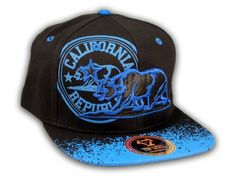This is a High Quality California Republic Bear Black-Blue Flat Bill Snapback Hat from Top Level. It has Embroidered Cali Bear in on the Front! With California Republic in Print! Embroidered California State on the Side! And Cali Embroidered on Back! Flat Bill Hats, Hip Hop Hat, California Republic, Blue Flats, Snapback Cap, Baseball Hats, Bear, 3d, Free Shipping