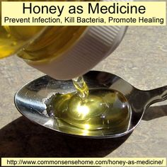 Honey as Medicine - Honey Prevents Wound Infections, Kills Bacteria and Promotes Healing by sealing in good tissue fluid, providing nutrition and decreasing inflammation.