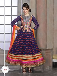 Luscious party wear anarkali salwar suit will provide you stunning look with heavy embroidery work, lovely color and lace patti work. Latest online wholesale collections available at addsharesale. www.addsharesale.com