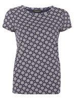 Womens Navy Geometric Print T-Shirt- Blue