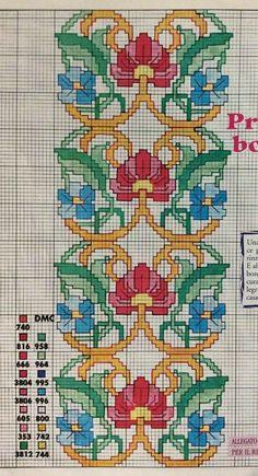 Cross Stitch Pillow, Cross Stitch Borders, Cross Stitch Flowers, Counted Cross Stitch Patterns, Cross Stitch Embroidery, Machine Embroidery, Art Nouveau Pattern, Christmas Embroidery Patterns, Needlepoint