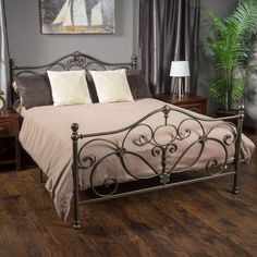 milano iron bed in antique pewter parker 39 s room bathroom pinterest. Black Bedroom Furniture Sets. Home Design Ideas