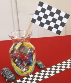 car themed centerpieces for adults party | car centerpiece