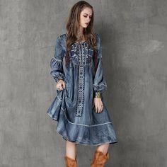 Winter Women Dress 2015 Yuzi New Vintage Denim Dresses O-Neck Long Lantern Sleeve Embroidery Vestido A6553 Vestidos Femininos