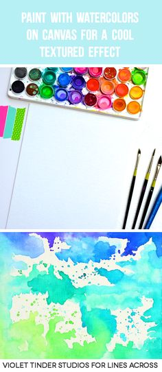 How cool is this? You can paint with watercolors onto canvas for a cool textured effect. Plus it's less permanent than watercolor paper so you can experiment more with colors. #watercolors #tutorial
