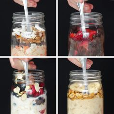 Fast Healthy Breakfast Recipes : Overnight Oats 4 Ways - Healthy Oats Recipes, Smoothie Recipes, Cooking Recipes, Easy Cooking, Porridge Recipes, Grilling Recipes, Healthy Snacks, Healthy Eating, Healthy Recipes