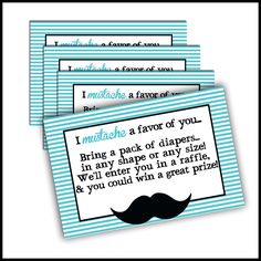 Diapers raffle - Mustache Baby Shower Inserts ONLY - Coordinates with our Mustache Invitations for Little Man baby shower Invites. $14.00, via Etsy.