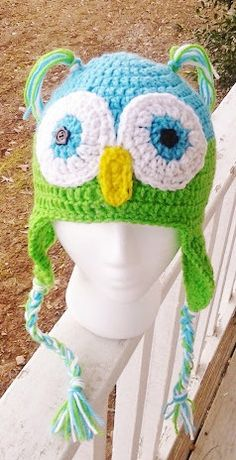 Turquoise and Green owl hat by MammawsDecorativeArt on Etsy, $20.00