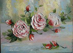 Купить или заказать чайные розы в интернет-магазине на Ярмарке Мастеров. Использованы кисти и мастихин, что дает работе дополнительный объем.…