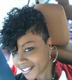 Short curly quick weave shaved side