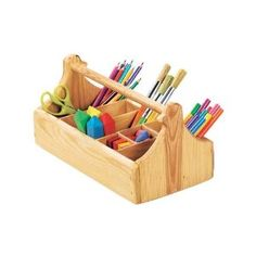 An art caddy is a great way to encourage children to write and draw, while enabling them to take their work throughout the house to be near you.  Sturdy Wooden Crayon Caddy with Eight Compartments - MagicCabin.com or Amazon.com
