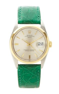 Rare Vintage Rolex TT Date Two-Tone With Green Crocodile Band by CMT Fine Watch and Jewelry Advisors - Moda Operandi Stylish Watches, Luxury Watches, Rolex Watches, Fine Watches, Cool Watches, Rolex Oyster Perpetual Date, Rolex Women, Expensive Watches, Telling Time