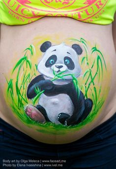 Panda Belly Painting . Look how cute this design look . Was one of my artworks at KIDS EXPO 2014.