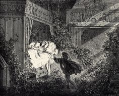 La Belle au Bois Dormant (Sleeping Beauty), by Gustave Dore, 1867 - illustration for the story by Charles Perrault. (one of my favorite fairytales as a kid)