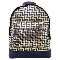 Buy Mi-Pac Metallic Houndstooth Backpack, Navy/Gold Online at johnlewis.com