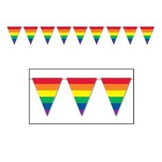 12' Foot Rainbow Gay Pride Flag (Triangle Stripe) Party Banner - LGBT Gay and Lesbian Pride Party Supplies - Gay pride flags and banners!